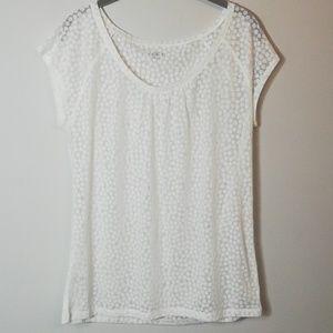 LOFT off-white polka dot blouse